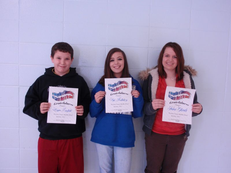 Our middle school students recognized for great character in January for gratefulness are: Logan, Kia, and Jordan.