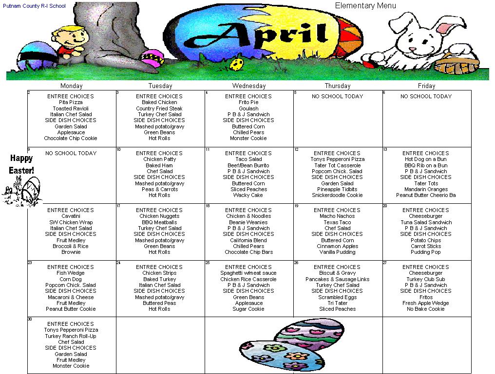 Putnam County R-I Schools - April 2012 Menus