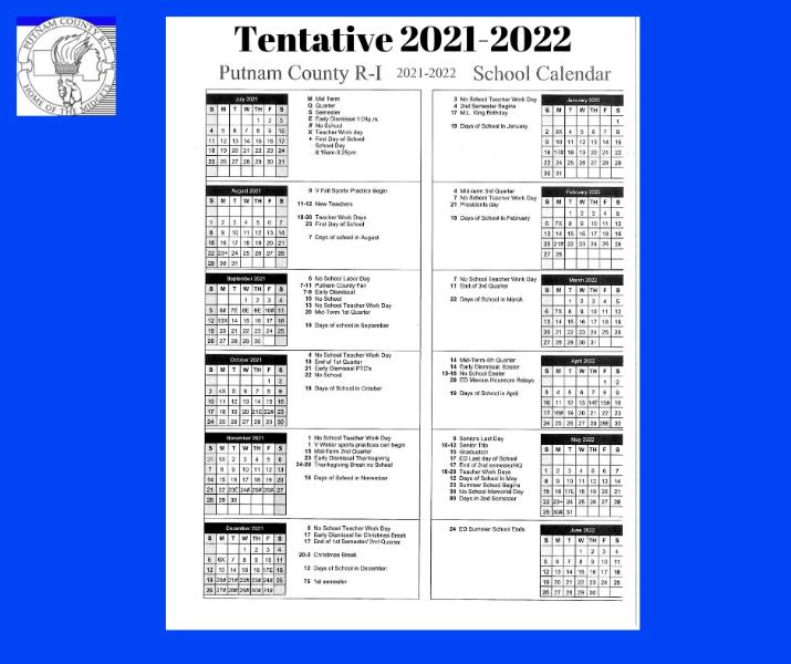 Putnam County R I Schools   Tentative 2021 2022 School Calendar